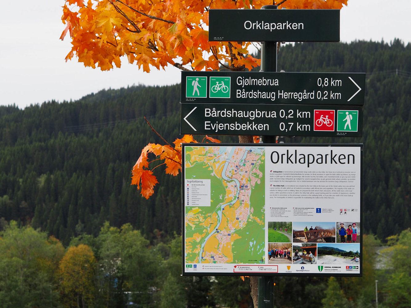 Orklaparken skilt og kart